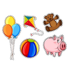 Sticker set with different toys vector image vector image