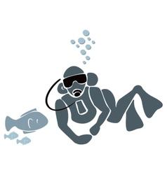 Underwater swimmer vector image