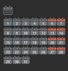 Different styles of calendar web icons collection vector image vector image