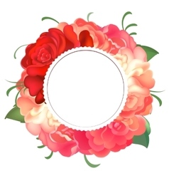 Postcard with a round frame of roses vector image vector image