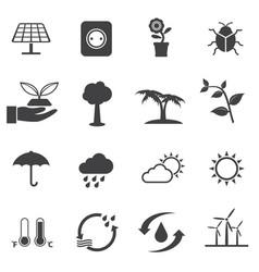 renewable energy and ecology icon set vector image vector image
