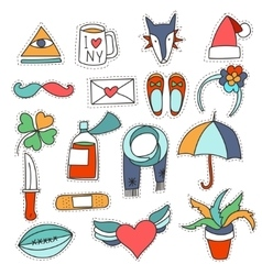 Set cartoon patch badges or fashion pin vector image vector image