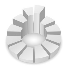 white circular diagram with columns isolated on vector image