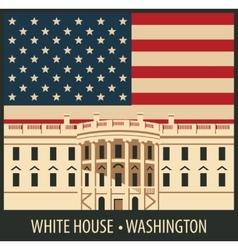 white house washington dc with flag vector image