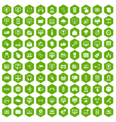 100 internet icons hexagon green vector