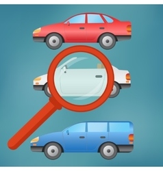 A magnifying glass selects a car vector