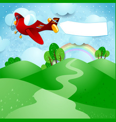 Airplane and banner over the hills vector