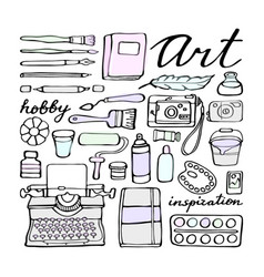 art supplies doodle set vector image