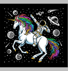 Astronaut and unicorn vector