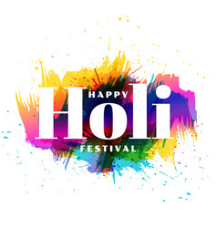 Attractive happy holi colorful wishes background vector