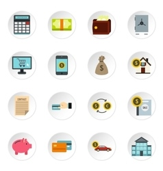 Banking icons set flat style vector