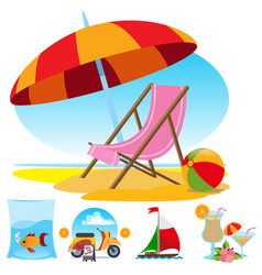 Beach chair fish cocktail sailing scooter set of vector