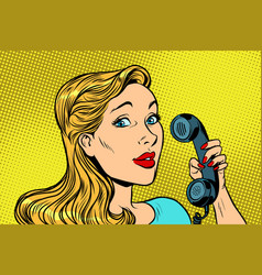 Blonde woman talking on retro phone vector