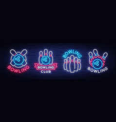 bowling is collection neon signs collection of vector image