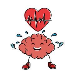 brain with heart kawaii character icon vector image