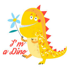 Brightly amusing dinosaur vector