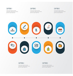 Business colorful outline icons set collection of vector