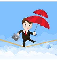 Business man cartoon holding umbrella and walking vector