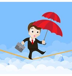 Business man cartoon holding umbrella and walking vector image