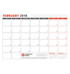 Calendar template for 2018 year february business vector