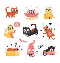 cartoon cats funny kittens different colors vector image