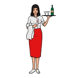Cheerful waitress with tray and wine glass vector image