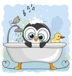 Cute cartoon penguin in the bathroom vector