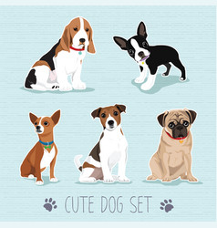 Cute dog set vector