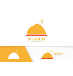 dish and bomb logo combination plate and vector image