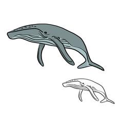 doodle whale sketch doodle vector image