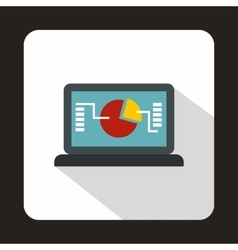Financial data on the screen icon flat style vector image