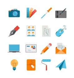Flat Icons Set For Web And Graphic Design vector image