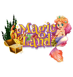 Font design for word mermaid land with mermaid vector