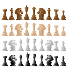 Four set of chess pieces vector