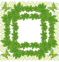 Frame of leaves and butterflies vector image