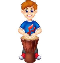 Funny boy with percussion cartoon vector