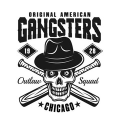 Gangster skull in hat with baseball bats on white vector