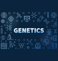 Genetics blue outline horizontal frame or vector