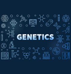 genetics blue outline horizontal frame vector image