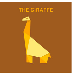 Giraffe animals origami flat vector