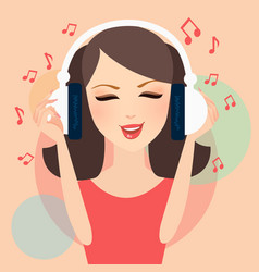 Girl listening to music in headphone young female vector