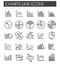 graph line icons set on white background for vector image