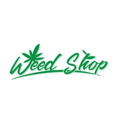 Green weed shop logo vector