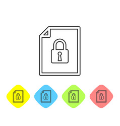 Grey document and lock line icon on white vector