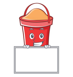 grinning with board bucket character cartoon style vector image
