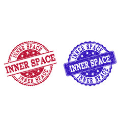 Grunge scratched inner space stamp seals vector