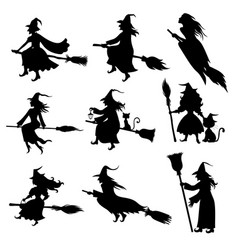 Halloween witch silhouette set vector