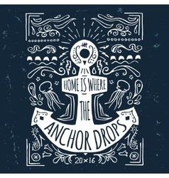 hand drawn vintage label with an anchor vector image