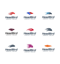 Head bird logo colection set animals logo design vector
