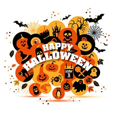 Helloween backgrouns set of color icons vector image